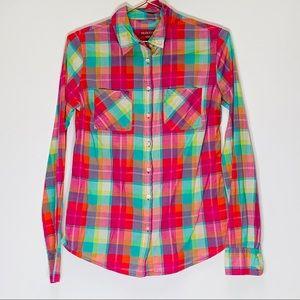 Merona Plaid Pink Green Button Down shirt Size Xs